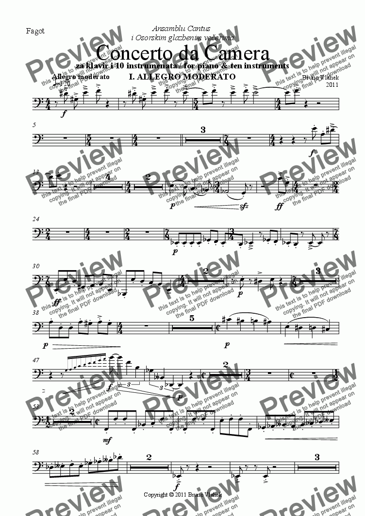 page one of the Bassoon part from Concerto da Camera /for piano and 10 instruments/