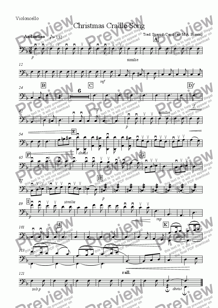 page one of the 'Cello part from Christmas Cradle Song (for Small Orchestra)