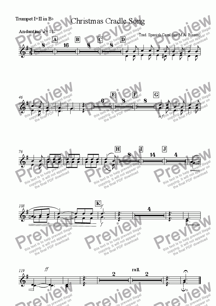 page one of the Trumpet I +II in Bb part from Christmas Cradle Song (for Small Orchestra)