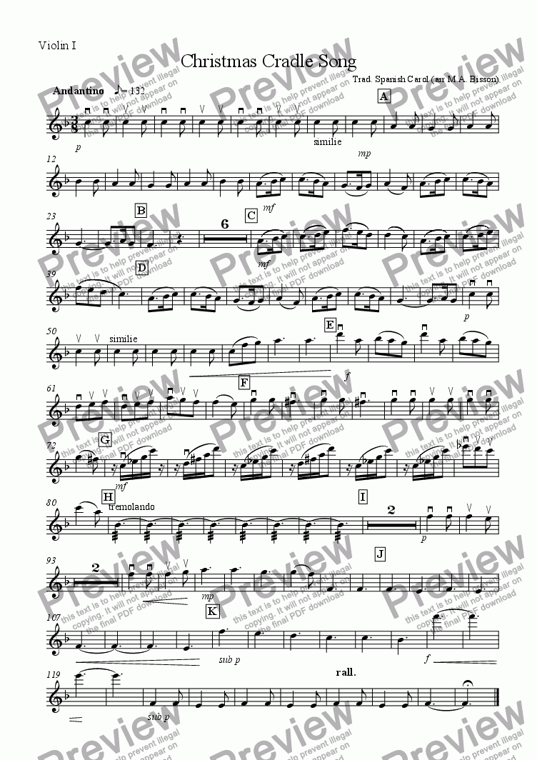 page one of the Violin I part from Christmas Cradle Song (for Small Orchestra)