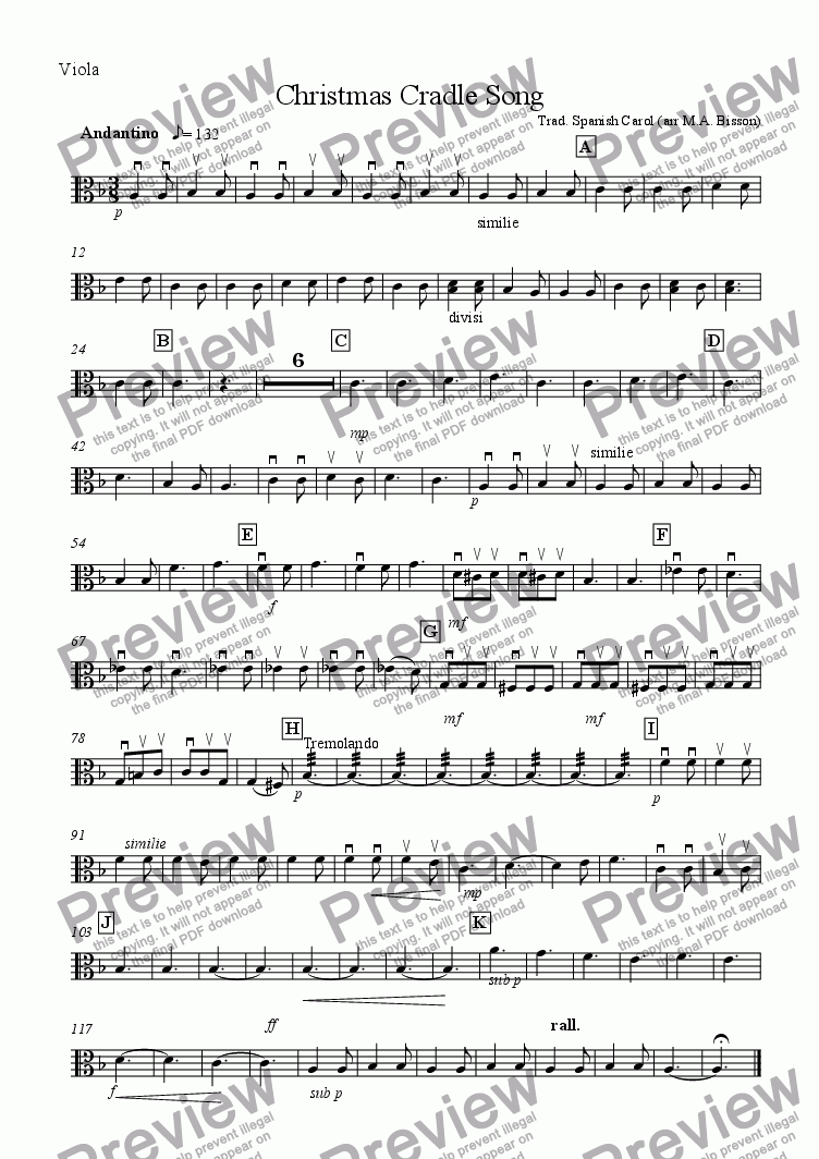 page one of the Viola part from Christmas Cradle Song (for Small Orchestra)