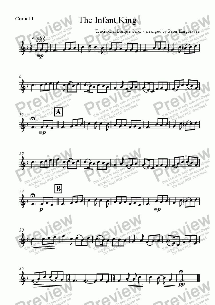 page one of the Cornet 1 part from The Infant King
