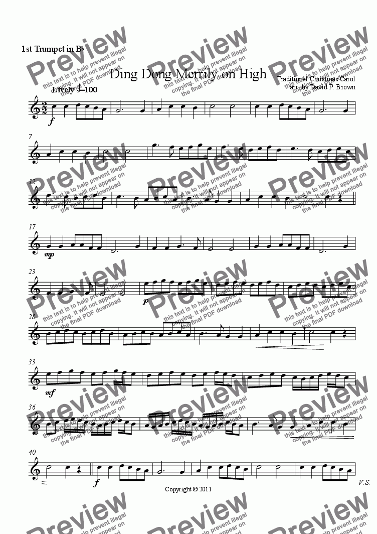page one of the 1st Trumpet in B^b part from Christmas: Ding Dong Merrily on High
