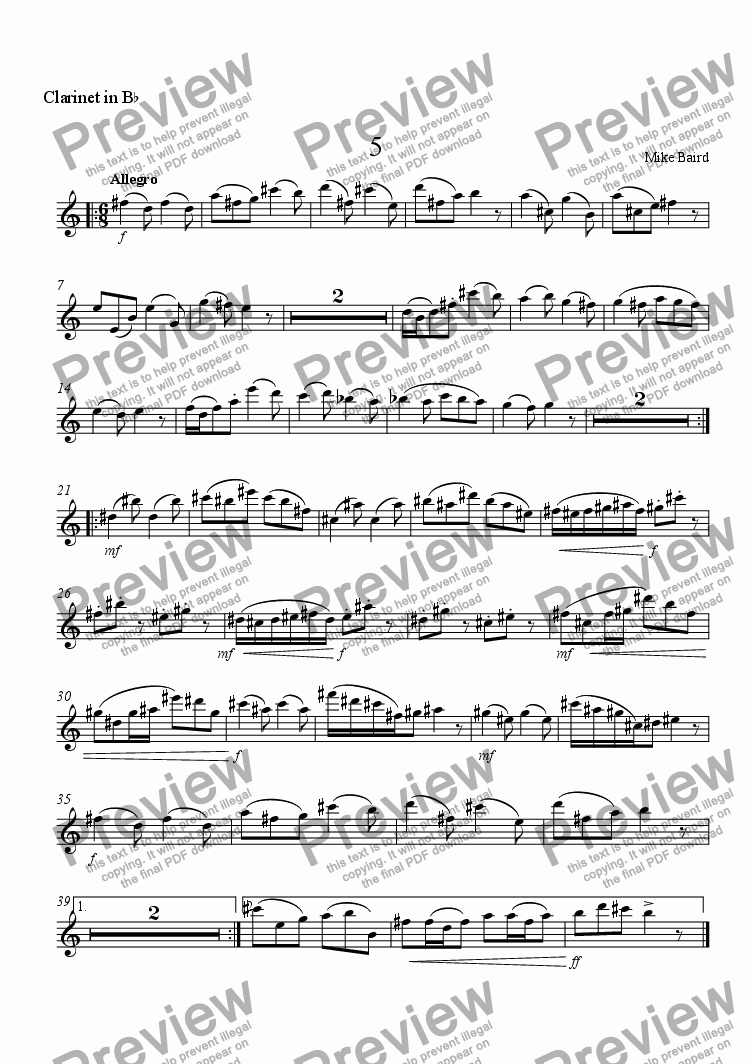 page one of the Clarinet in B^b part from 5