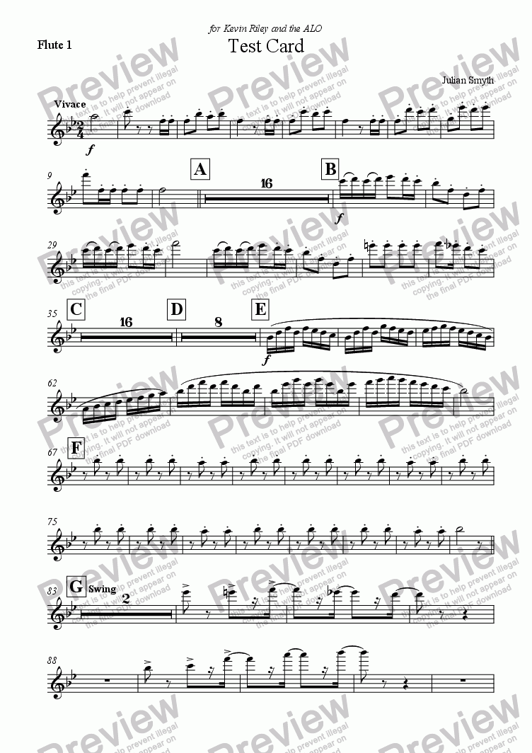 page one of the Flute 1 part from Test Card