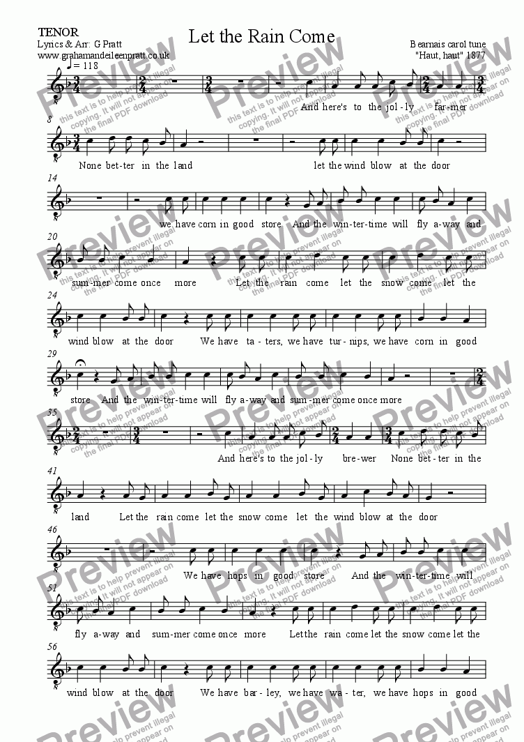 page one of the TENOR part from LET THE RAIN COME