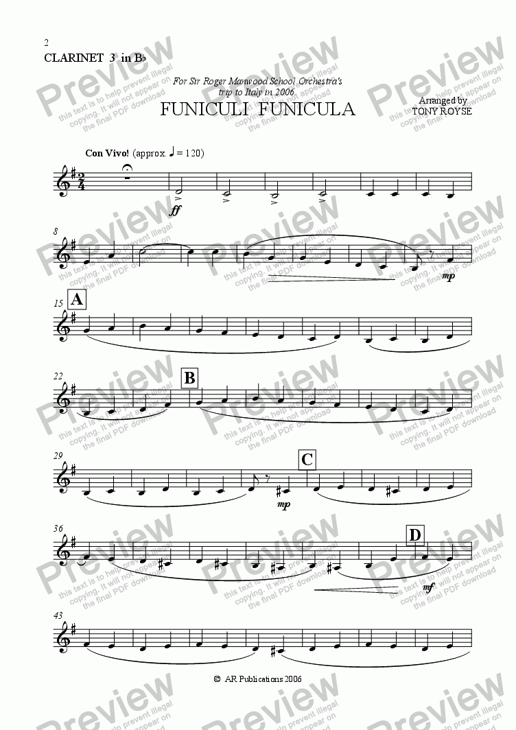 page one of the Clar.3 in Bb part from Funiculi Funicula for School Orchestra