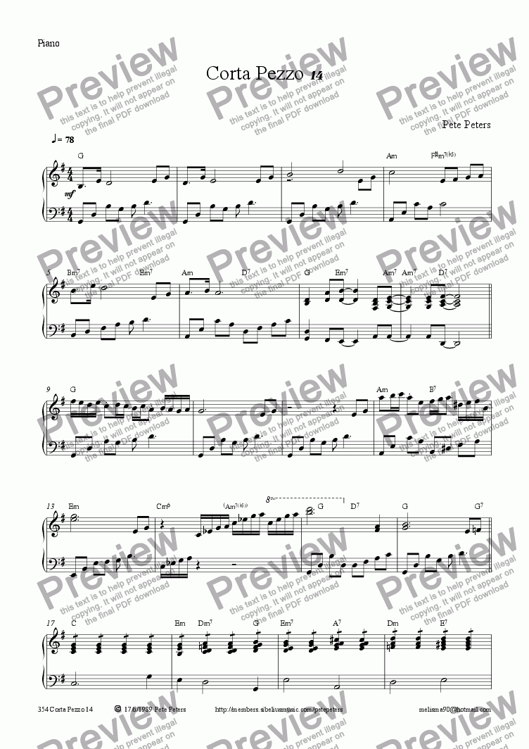 page one of the Piano part from Corta Pezzo 14 (descant)