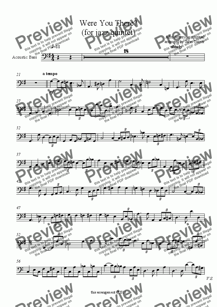 page one of the Acoustic Bass part from Were You There? (for jazz quintet)
