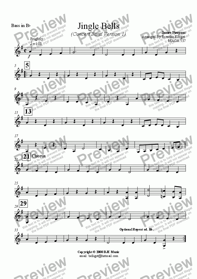 page one of the Bass in B^b part from Jingle Bells (Concert Band)