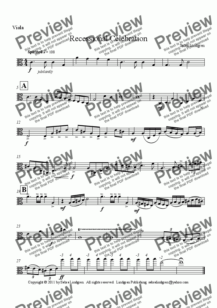 page one of the Viola part from Wedding or Graduation: Recessional Celebration