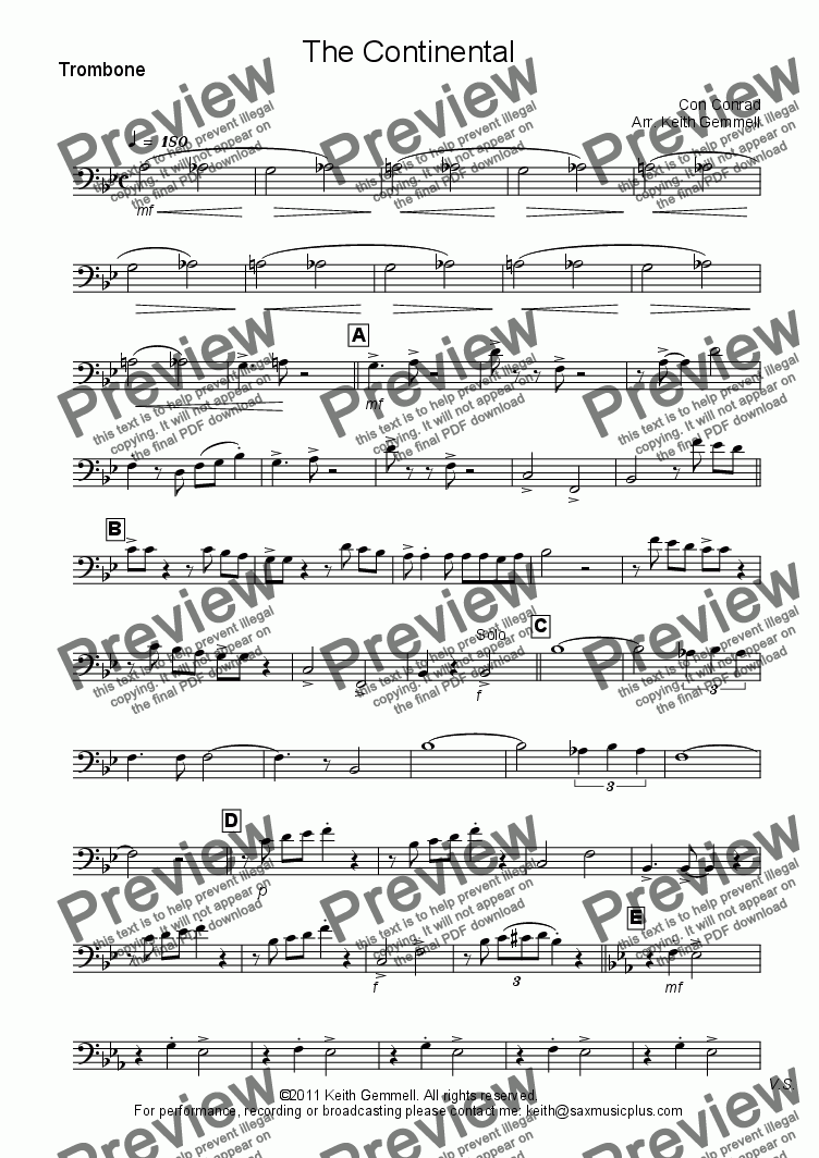 page one of the Trombone part from The Continental – Brass Quintet