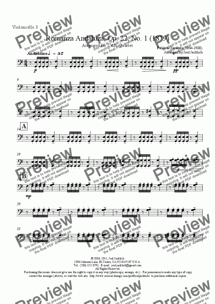 page one of the Violoncello 3 part from Romanza Andaluza, Op. 22, No. 1 - Cello Quartet