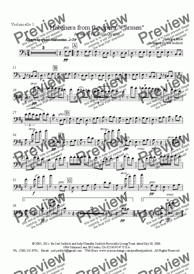 "page one of the Violoncello 1 part from Habanera from ""Carmen"" for Cello Quartet"