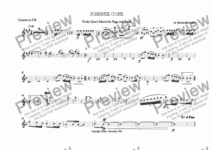 page one of the Clarinet 3 in Bb part from Johnnie Cope