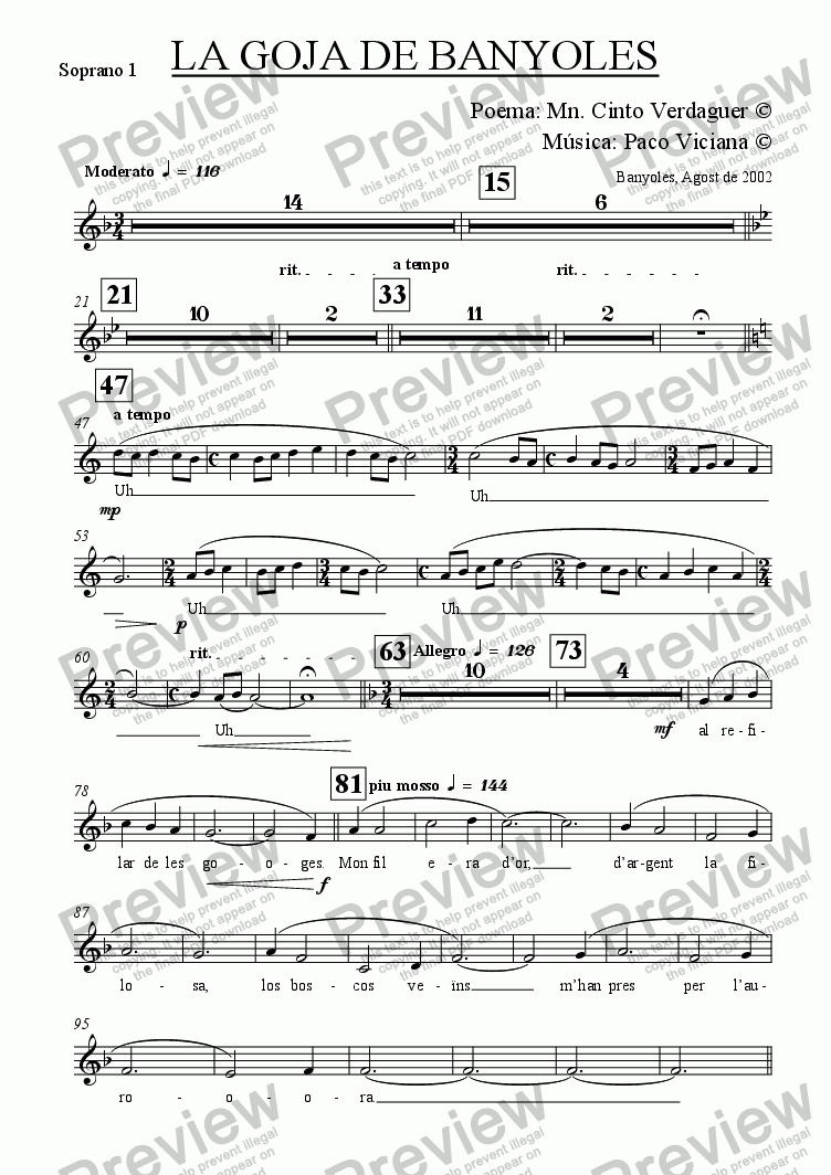 page one of the Soprano 1 part from 153-La Goja de Banyoles (catalan) (chamber version Nr. 1)