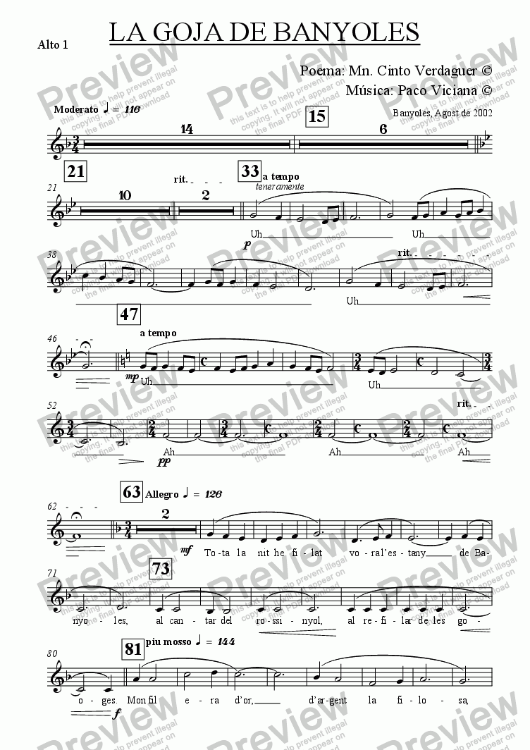 page one of the Alto 1 part from 153-La Goja de Banyoles (catalan) (chamber version Nr. 1)