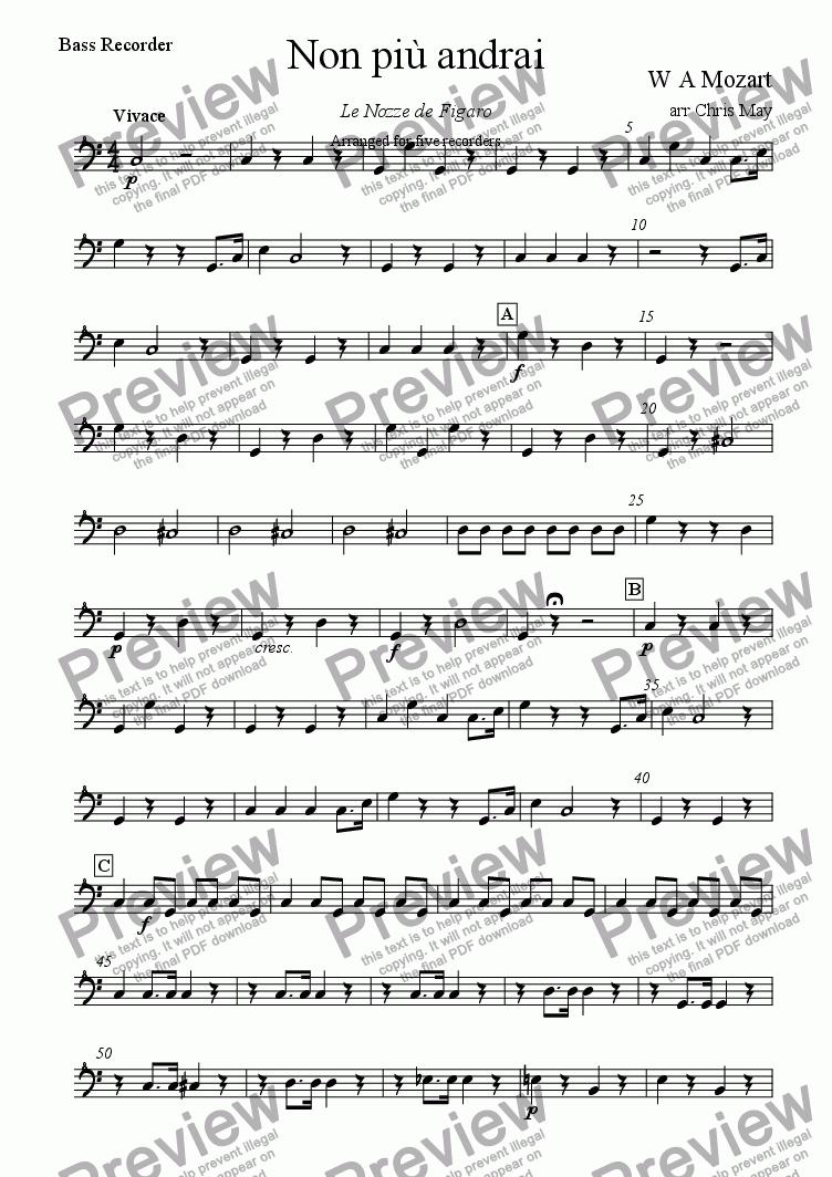 page one of the Bass recorder part from Non più andrai
