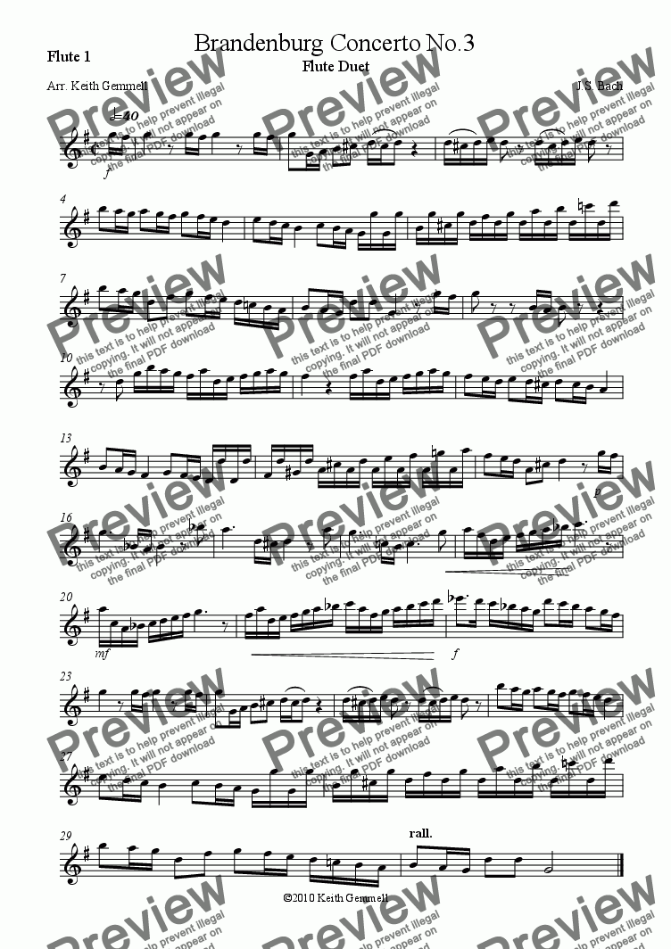page one of the Flute 1 part from Brandenburg Concerto No.3 – Flute Duet
