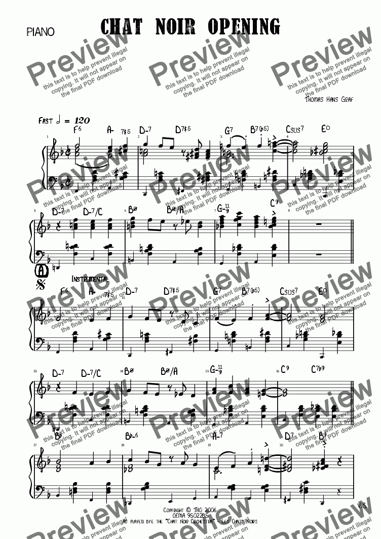 page one of the Piano part from Chat Noir Opening - Jazz Quartet