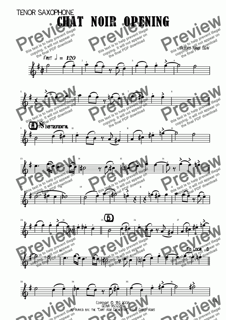 page one of the Tenor Saxophone part from Chat Noir Opening - Jazz Quartet