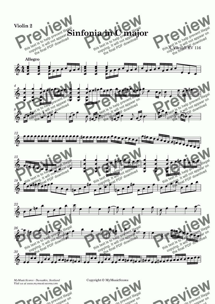 page one of the Violin II part from Vivaldi Sinfonia in C major
