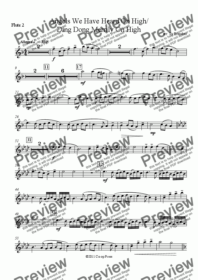 page one of the Flute 2 part from Angels We Have Heard On High/ Ding Dong Merrily On High for Band
