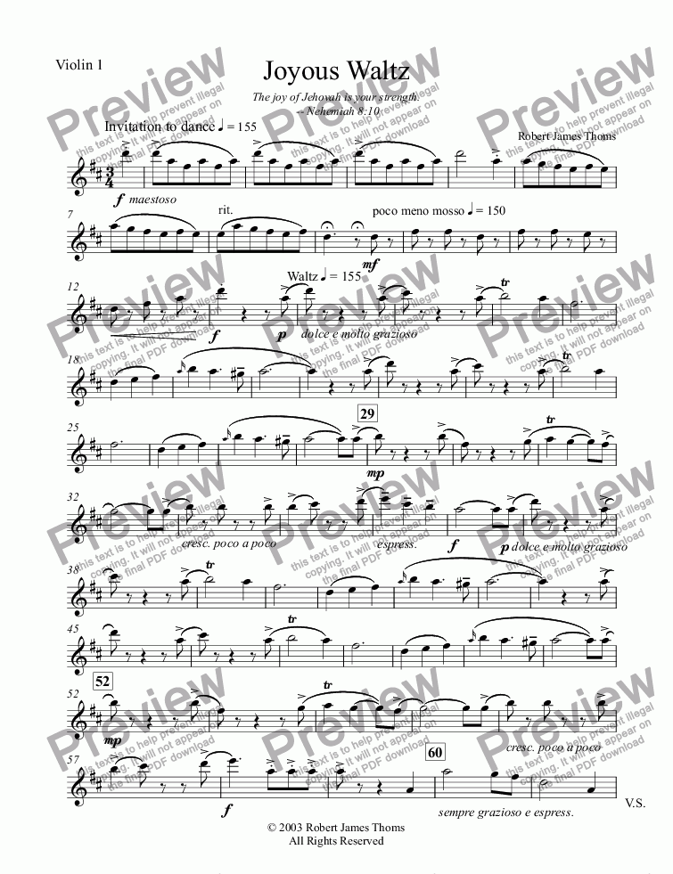 page one of the Violin 1 part from Joyous Waltz
