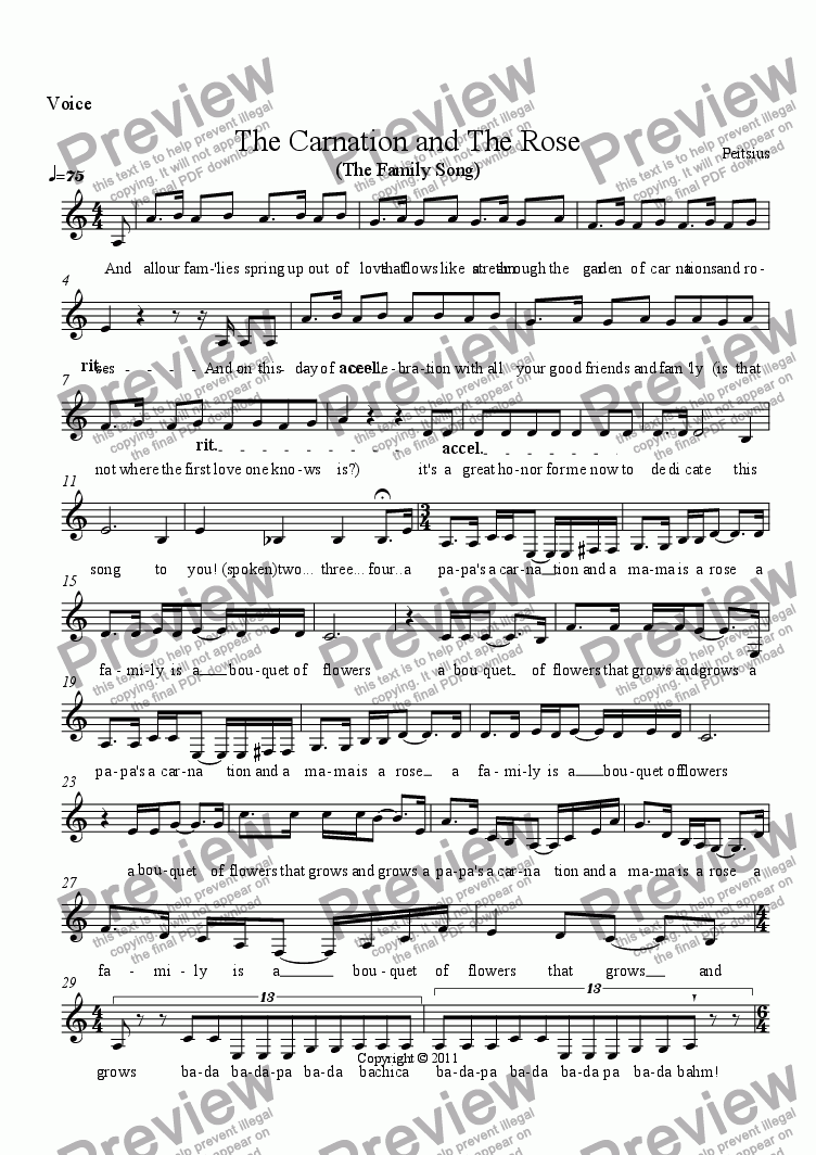 page one of the Voice part from The Carnation and The Rose