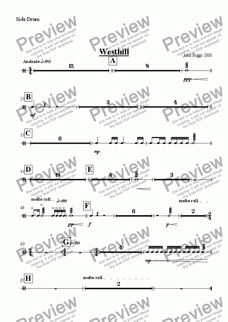 page one of the Side Drum part from Westhill