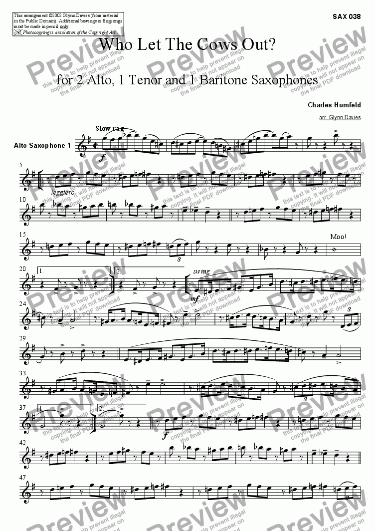 page one of the Alto Sax 1 part from Who Let The Cows Out? - For Sax Quartet (AATB)