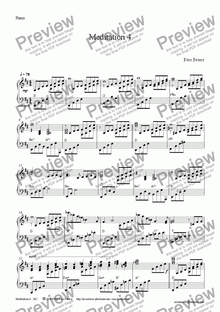 page one of the Piano part from Meditation 4 [solo inst + Pno]]