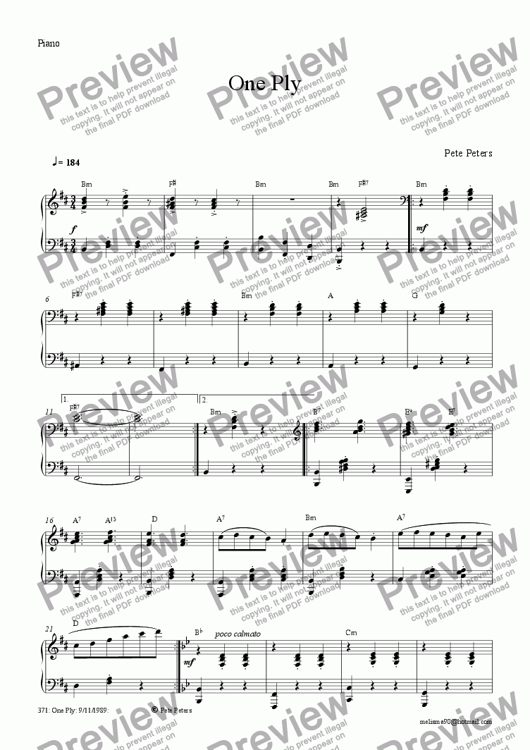 page one of the Piano part from One Ply (solo inst + pno])