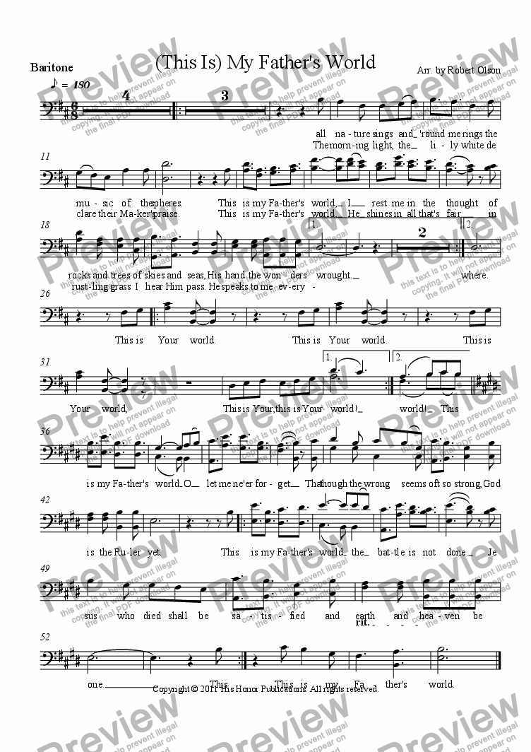 page one of the Baritone part from (This Is) My Father's World