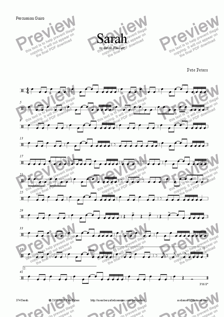 page one of the Guiro part from Sarah (Trio + Latin rhythm)