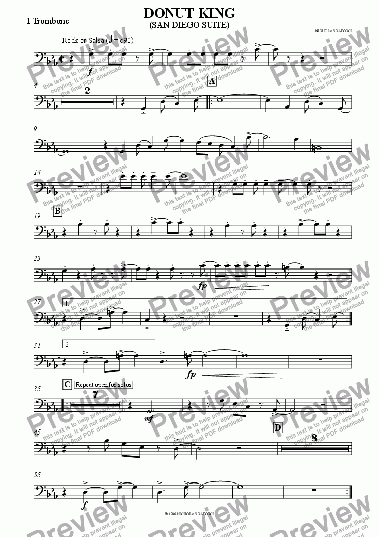 page one of the 1st trombone part from DONUT KING - BIG BAND
