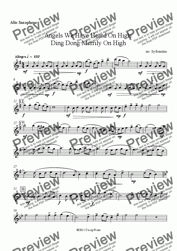 page one of the Alto Saxophone part from Angels We Have Heard On High/ Ding Dong Merrily On High for Sax Quartet