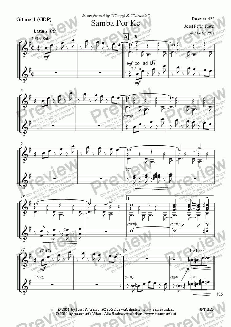 page one of the Gitarre 1 (GDP) part from Samba por ke (GDP/Score & Parts)