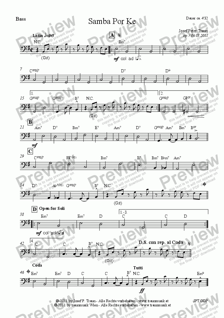 page one of the Bass part from Samba por ke (GDP/Score & Parts)