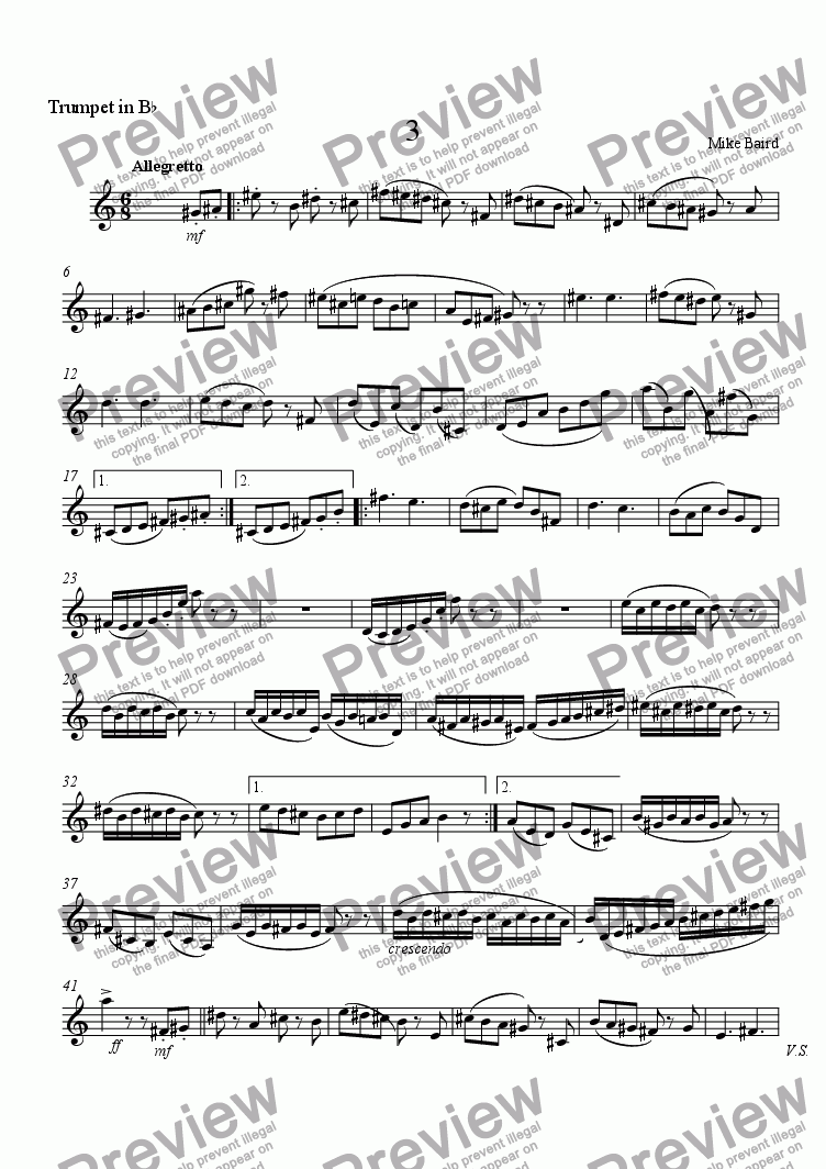 page one of the Trumpet in B^b part from 3