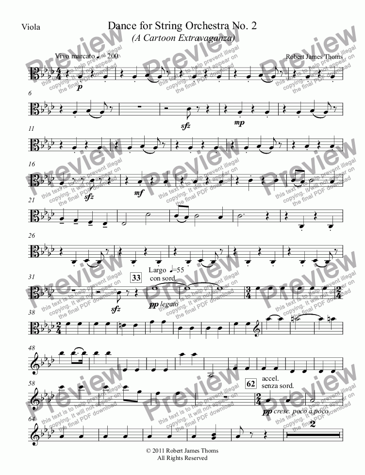 page one of the Viola part from Dance for String Orchestra No. 2  (A Cartoon Extravaganza)