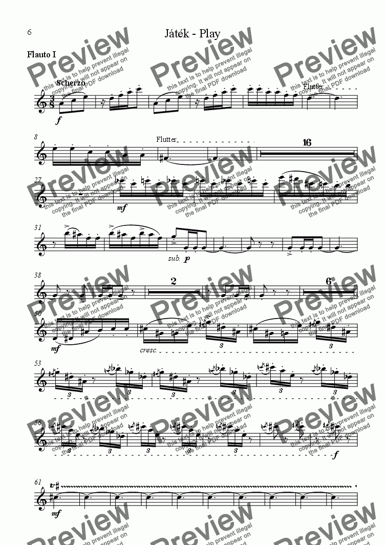 page one of the Flute I part from Vocalise - Play for flute, vocal and viola