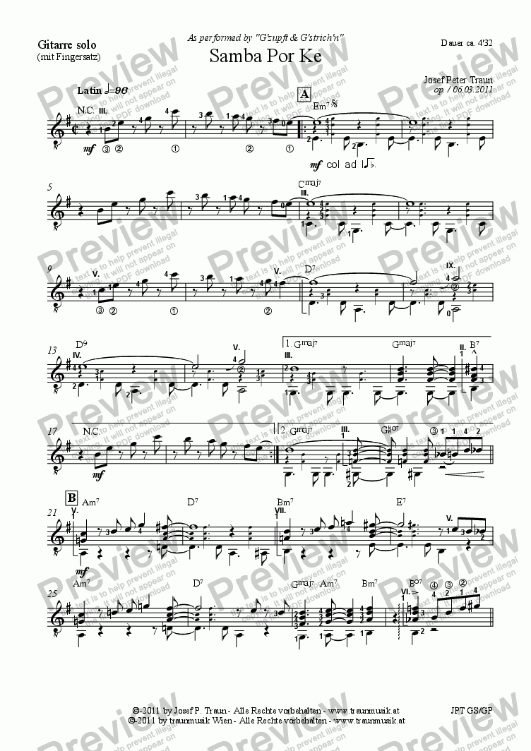 page one of the Gitarre (mit Fingersatz) part from Samba por ke (GS)
