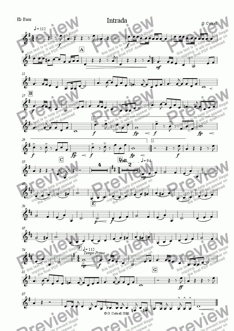 page one of the Eb Bass part from Intrada