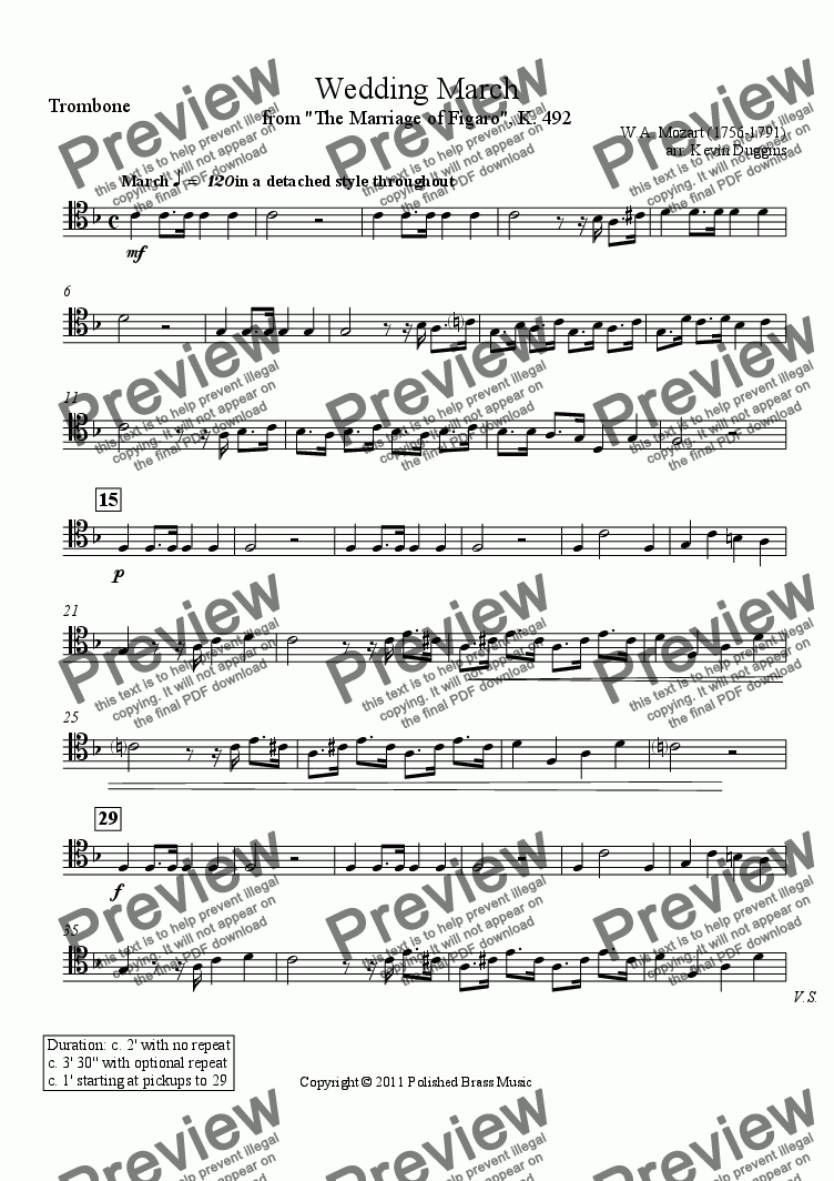 "page one of the Trombone part from Wedding March from ""The Marriage of Figaro"""