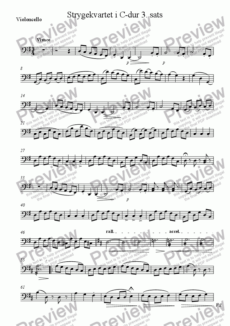 page one of the Violoncello part from Strygekvartet i C-dur 3. sats