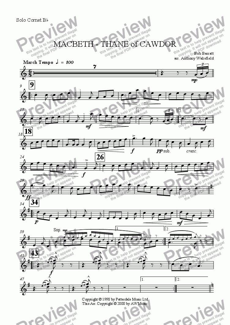 page one of the Solo Cornet Bb part from Macbeth - Thane of Cawdor