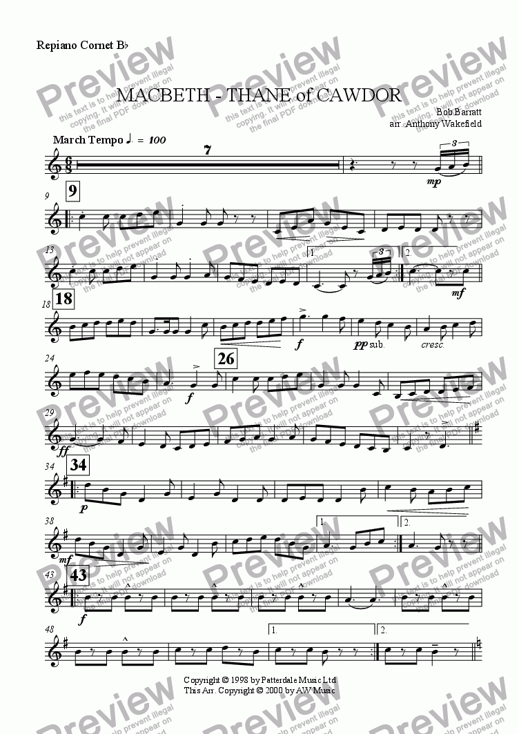 page one of the Repiano Cornet Bb part from Macbeth - Thane of Cawdor