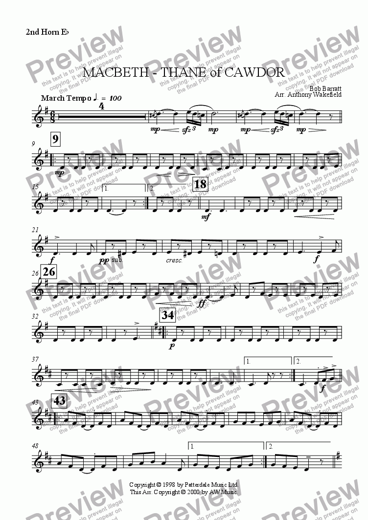 page one of the 2nd Horn Eb part from Macbeth - Thane of Cawdor