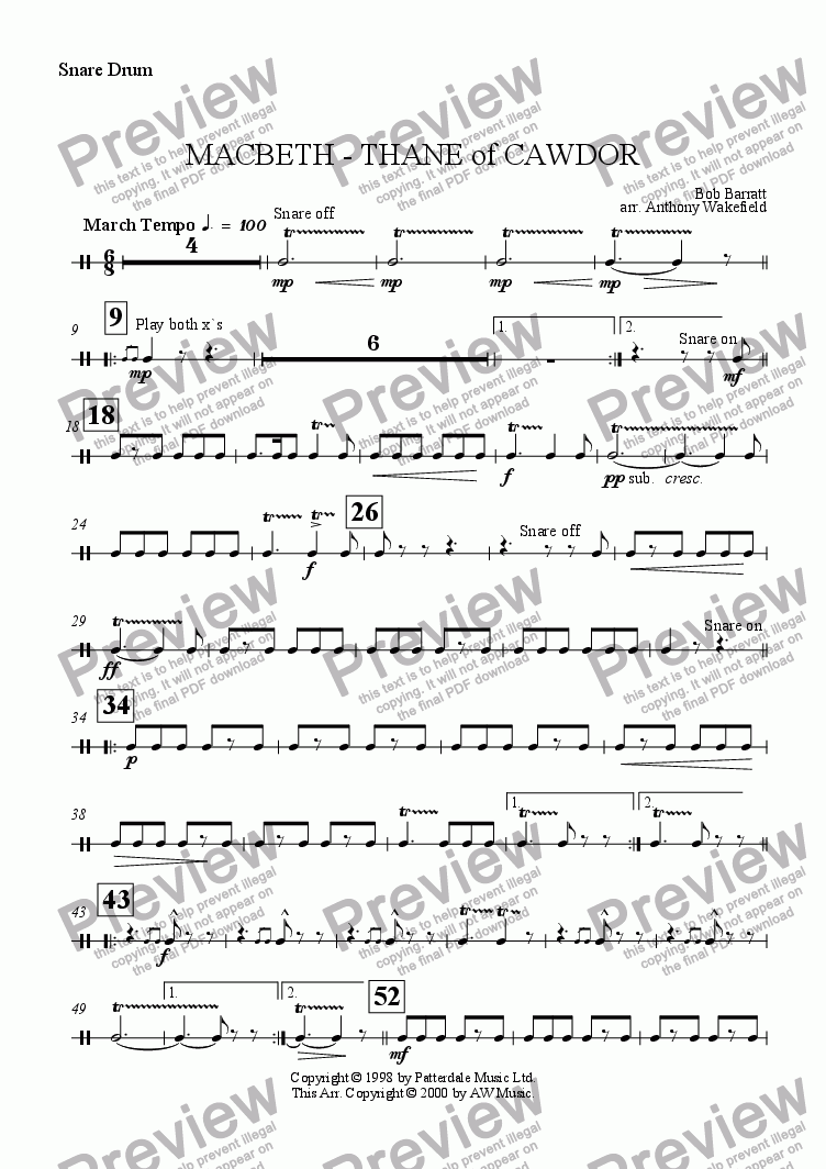 page one of the Snare drum part from Macbeth - Thane of Cawdor